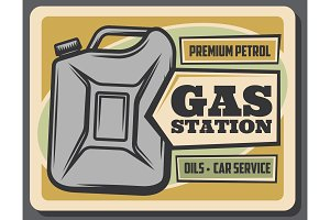 Gas station, gasoline jerrycan