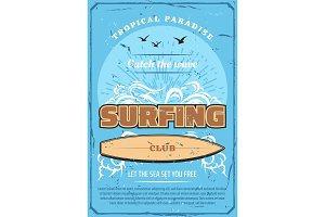 Surfing sport, sea and surfboard