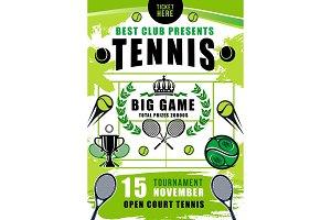 Tennis court, balls and rackets