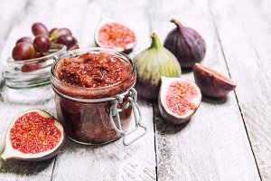Figs jam in jar Fruit marmalade Home