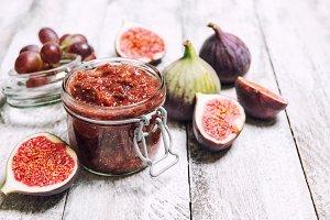 Figs jam in jar Fruit marmalade Home