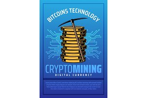 Bitcoin mining, crypto currency coin