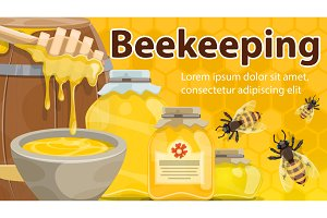 Honey and bees of beekeeping farm