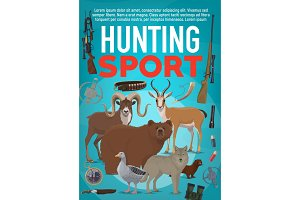 Hunting sport equipment and animals