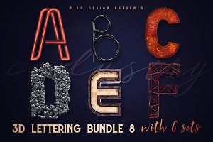 3D Lettering Mega Bundle 8 Industry