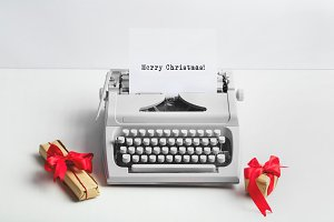 Typewriter with MERRY CHRISTMAS text