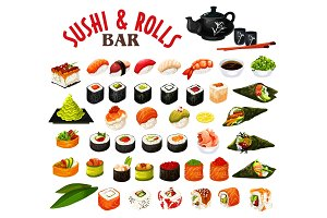 Japanese sushi and rolls icons