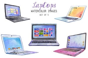 Watercolor Laptops Clipart