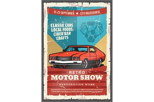 Vintage car, retro motor show