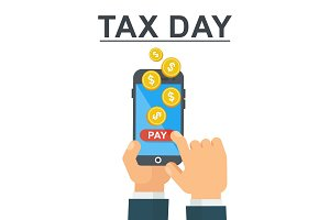 Tax day concept. Mobile Banking