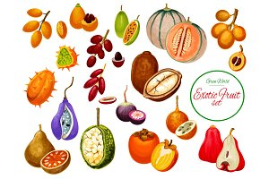 Exotic fruits and berries icons