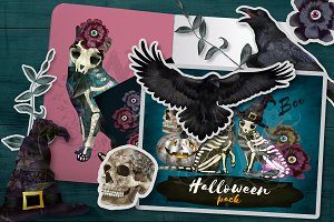 Halloween clipart with skeleton cat
