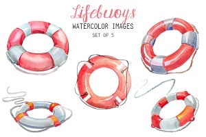 Watercolor Lifebuoys Clipart