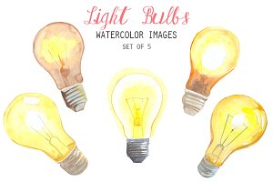 Watercolor Light Bulbs Clipart