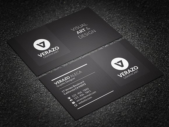 Modern black business card business card templates creative market fbccfo Image collections
