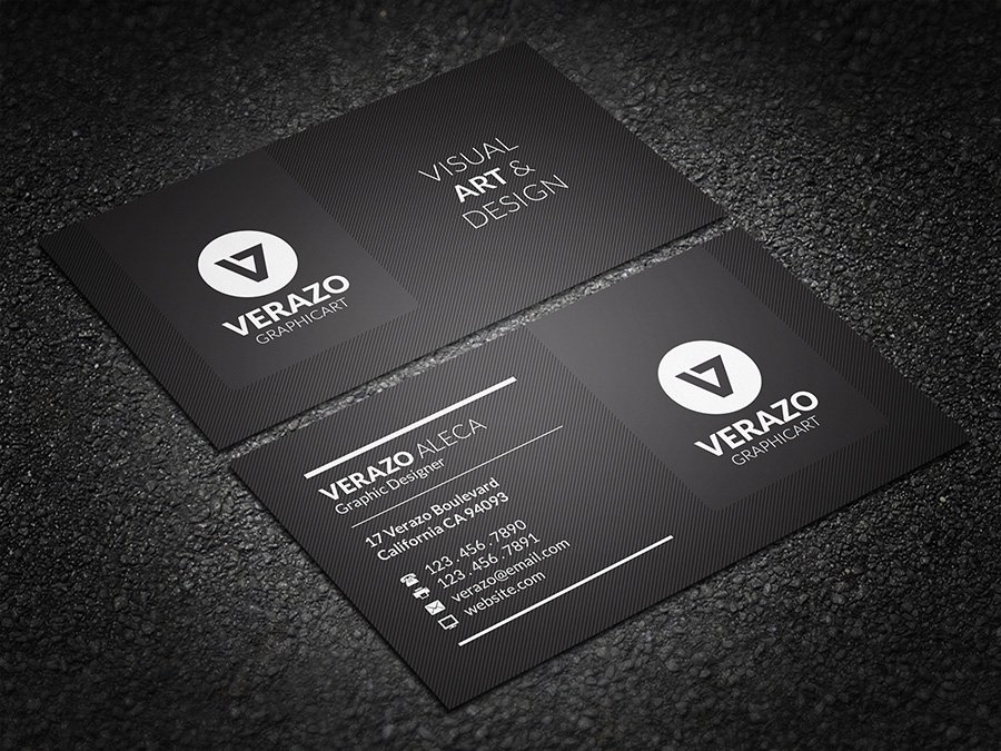 Modern black business card business card templates creative market reheart