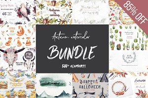 Watercolor Autumn Bundle-85% off