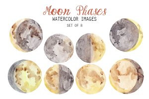 Watercolor Moon Phases Clipart