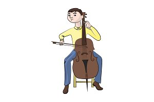 man (boy) playing the cello. Vector