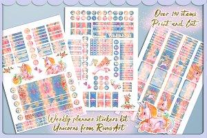 190+ planner Unicorn stickers kit