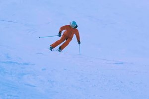 Woman skiing winter Downhill skis