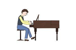 man (boy) plays the piano. Vector