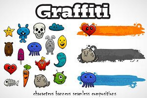 Graffiti characters vector set