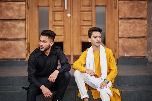 Two indian stylish mans friends in t
