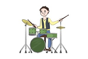man (boy) plays the drum set. Vector