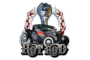 Cartoon retro hot rod with vintage