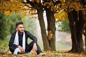 Indian stylish man in black traditio