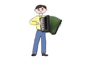 man (boy) plays the accordion.