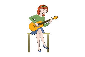 The girl (woman) plays the guitar.