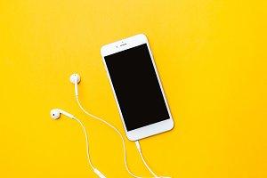 smart phone on yellow