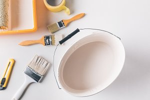 top view of bucket with white paint
