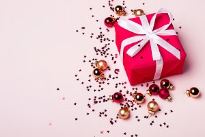 Red Gift box on pastel background. C