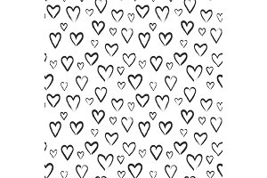 Hearts sketch seamless pattern