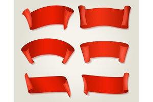 Retro red silk ribbons