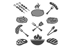 Barbecue grill icon set