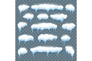 Snow icicles set on transparent