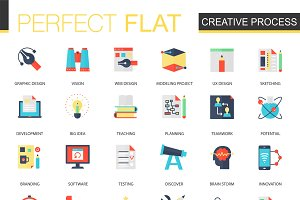 Creative process flat icons
