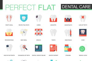 Vector set of flat Dental care icons