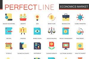 Economics market icons.