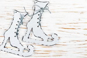 Christmas decoration - wooden skates