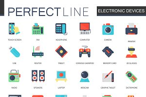 Electronic devices flat icons.