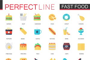 Fast food flat icons set