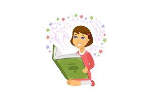 Girl reading - isolated illustration