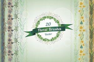 20 Vintage Floral Brushes