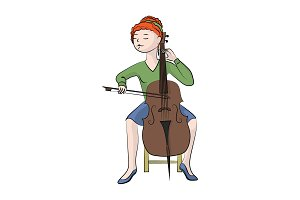 The girl (woman) plays the cello.