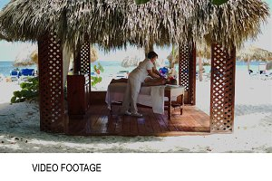 Spa treatment massage in gazebo